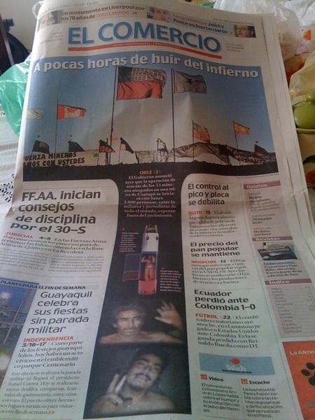 Ingeniosa portada de @elcomerciocom a 2 días del rescate a mineros Chile