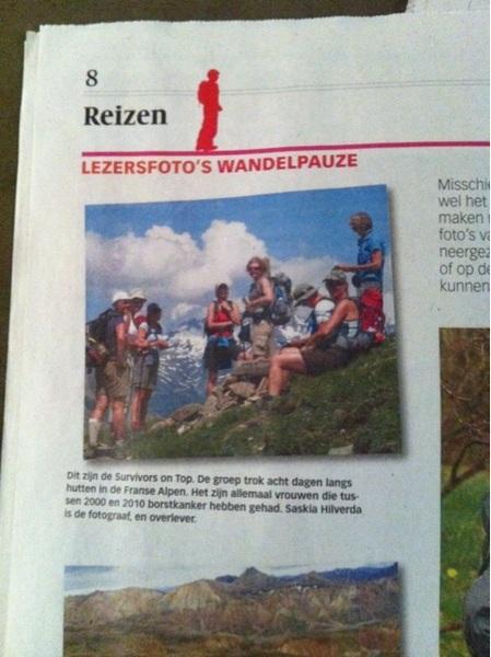 Vandaag in de Volkskrant: Survivors on Top! Na borstkanker terug naar je kracht: www.survivorsontop.nl voor de reizen van 2012! Zegt het voort!