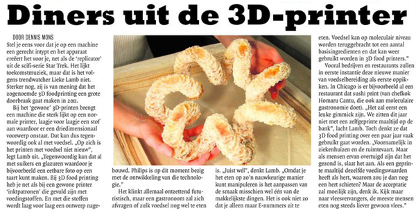 diners uit 3d printer