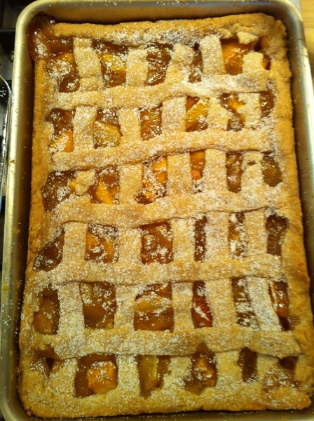 After raccoon, we got to the peach cobbler and the Texas sheet cake Lanie made. Doesn't seem raccoons like sweets.