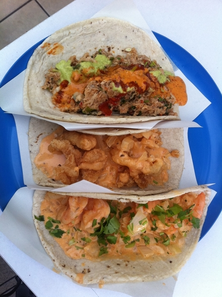3rd set of Ensenada fish tacos: Marco Antonio: shrimp/chipotle cream; chicharrón de pescado; tuna machaca