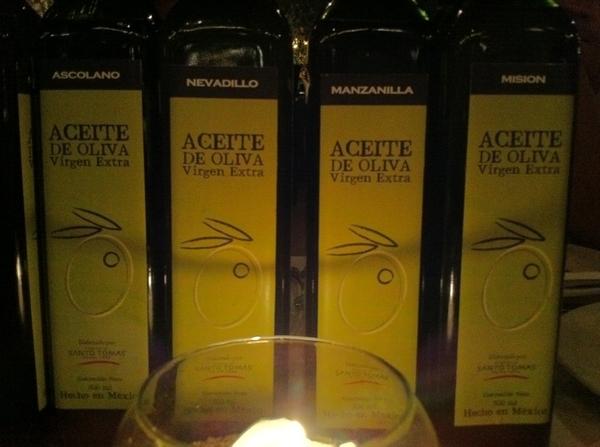 Aftr filmng:ctasting 5 varietal Baja olive oils frm Santo Tomás.Ascolano=deliciously fruity;Sevillano=elegant,deep