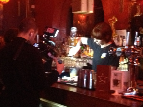 Filming for blogger @ZoeGriffin, Lorena shows us the ropes! #Hoxton #cocktails