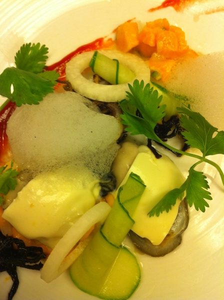 Possible new dish4next Topolo Adventr Menu: arctic char ceviche, baked oysters w smoked crema,jic,cuke,tequila air