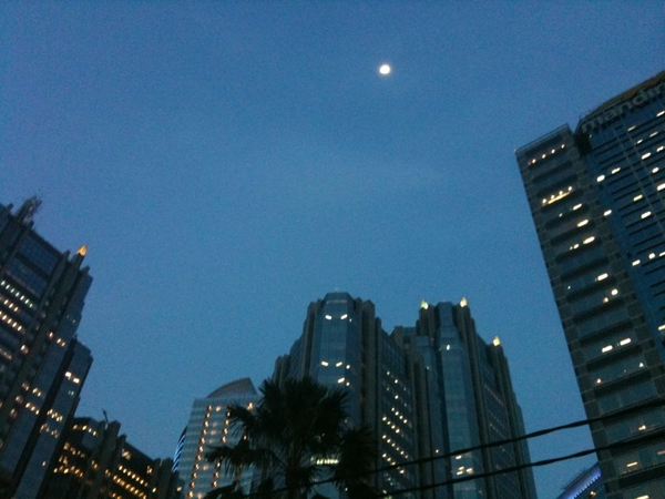 Jakarta by moonlight without pollution