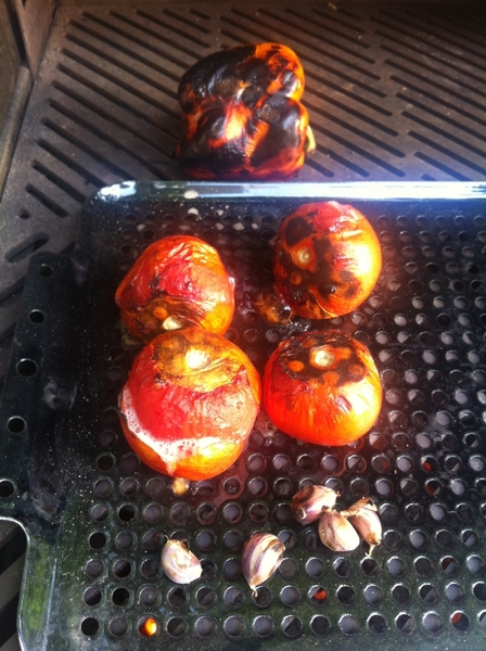 Grilled ratatouille: 1st grill tomatoes,garlic (in skin), pepper. Skin&puree tom, perl grlc, skin/seed/chop pepper