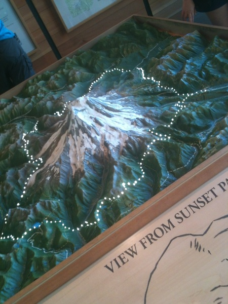 Interactive Mount Rainier map and trail technology inside the @MountRainierNPS Visitors Center.