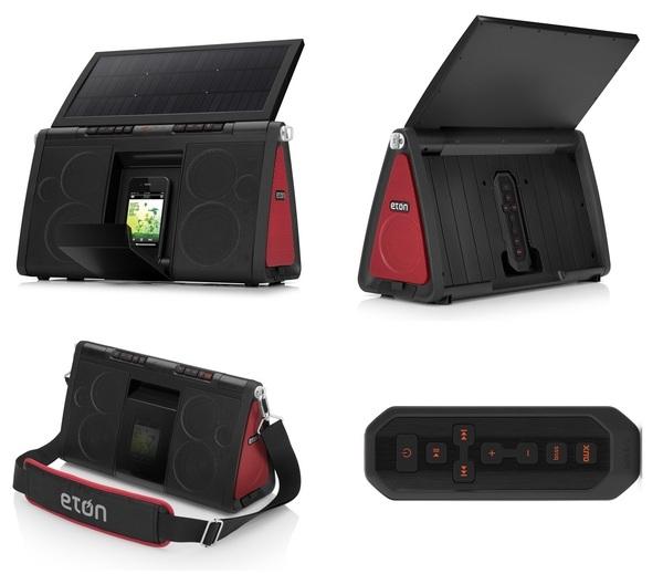【珍アイテム】 Soulra XL NSP500B 17952円 ソーラーパネル搭載のiPhoneドックスピーカー。開閉式の単結晶ソーラーパネルとリチウムイオンバッテリーを搭載。太陽光、バッテリー、ACアダプターと3電源に対応。