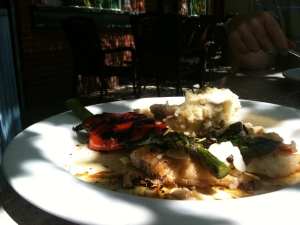 On the patio at Al Dente, Brantford. Red Snapper in a pleasant casual setting.