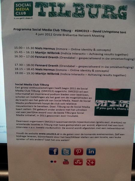 Het programma voor vandaag. #smc013