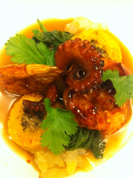 Yuc Menu#3: achiote-orange-glazed octopus&shrimp, sikil pac, escabeche, wild greens, tiny brazo de Indio tamal