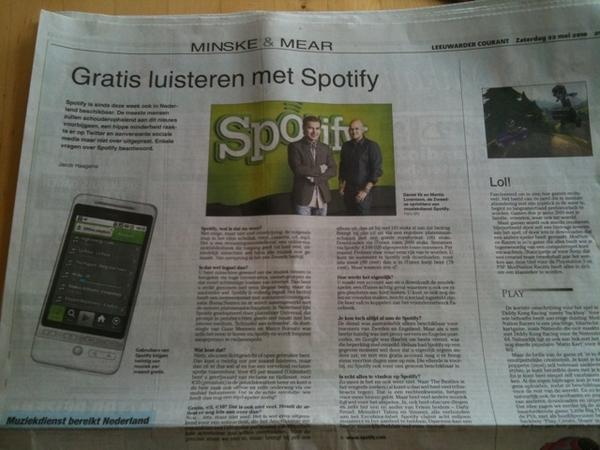 Spotify in de Leeuwarder Courant