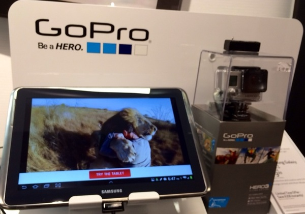 At @VerizonWireless #InBend assessing the awesome @GoPro #Hero3. #lion #verizon