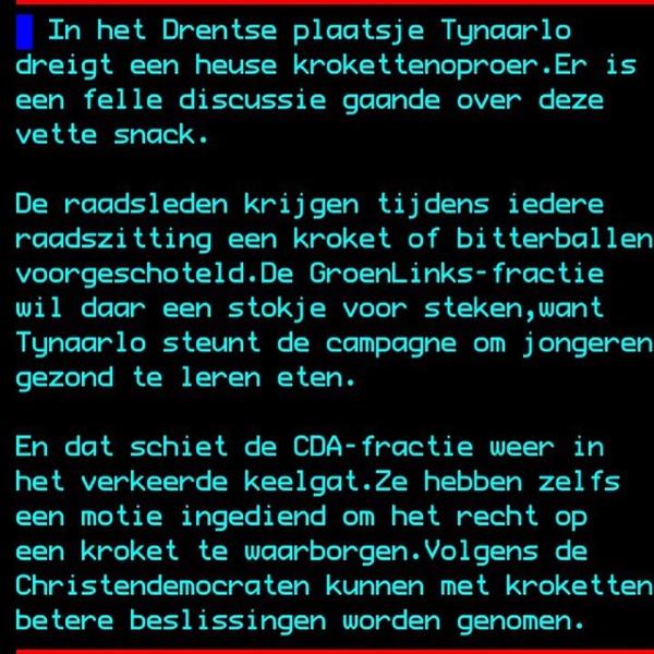 Dank @jwvdk voor de heerlijke teletekst tip. Knap staaltje #onbedoeldeliteratuur... Kroketten in Tynaarlo.