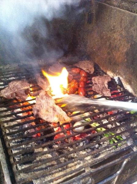 Oaxaca market:grilling red chile pork cecina,Half-dried beef tasajo, gr8 chorizo,knob on, chile de agua.Mkt bfast!