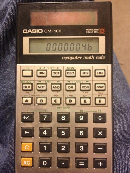 "Recently came across my old Casio CM-100 ""computer math calc"" calculator. It's solar-powered too!"
