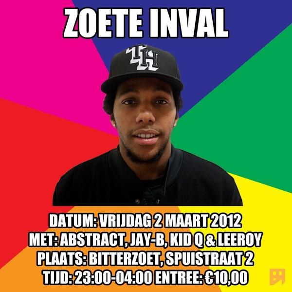 #zoeteinval vrijdag 2 maart @BitterzoetAdam  #rt ieks