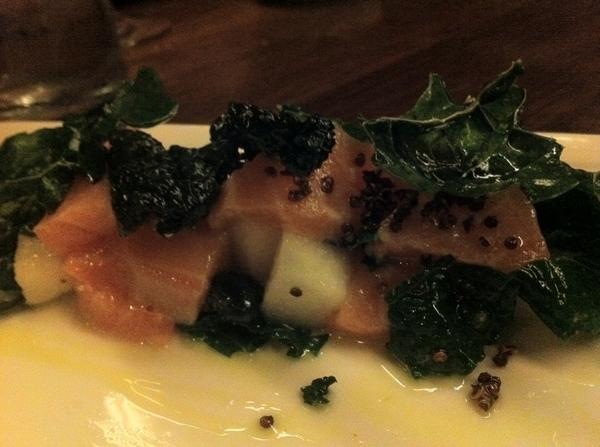 Uchiko: smoky salmon w dinosaur kale, Asian pear, creamy yuzu