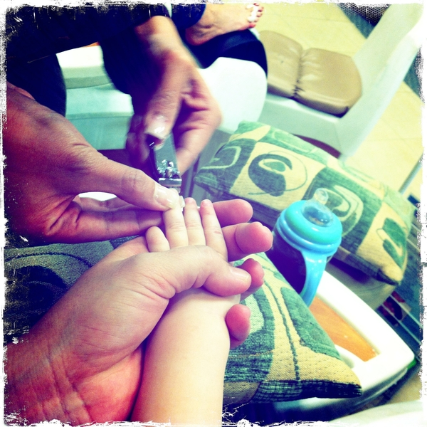 Fletcher's getting a mani ( well, his nail cut)