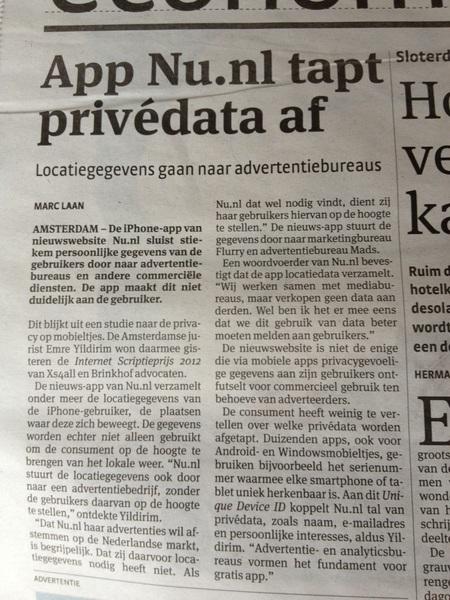 App Nu.nl tapt privédata af #fail #uninstall