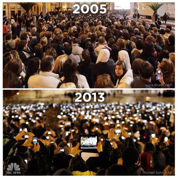 La elección del papa en 2005 y en 2013. Sin palabras. #redessociales #Marketing