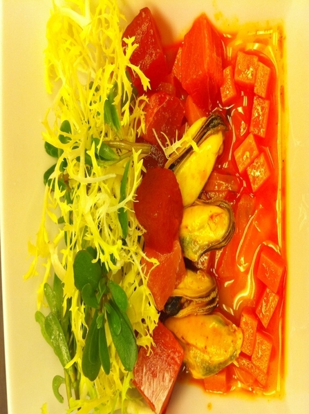Possible new dish4next Topolo Celebration Menu:mussel escabeche w sashimi tuna, H2Omelon,frisee, purslane,chipotle