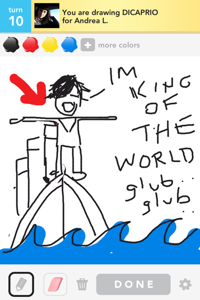 For those of you that don't wanna shell out $16 to see Titanic 3D. (Spoiler Alert!) #DrawSomething #DiCaprio