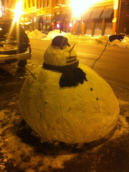 "Our Frontera valet ""Blizzard 2011 mascot"" got hit by a bus. Rebuilt!  Good as new--like Chicago!"
