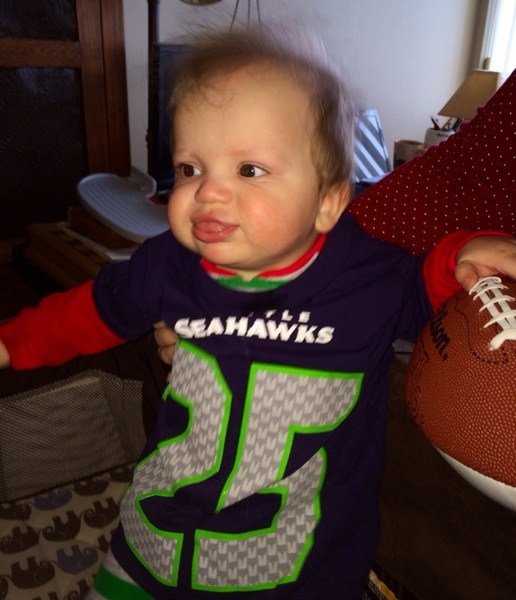 No tongue in cheek when @Seahawks number 25 @RSherman_25 is your first @nfl jersey. #SFvsSEA #12s