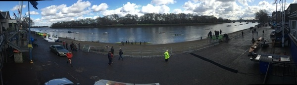 #Putney Embankment is getting  ready for the Boat Race this afternoon. #WhichBlueAreYou? @TheBoatRace