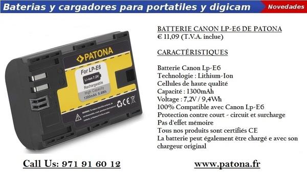 Mejor Canon LP-E6 DE batería en Patonafr