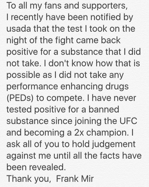 Please read my statement regarding USADA test: