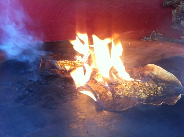 Susana Trilling Oax cooking school: burning the seeds for black mole, adding another layer of complexity.