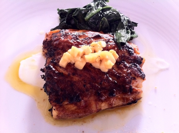 "Pitiyona: snapper with red chile ""talla"" marinade/adobo, plantain, spinach"