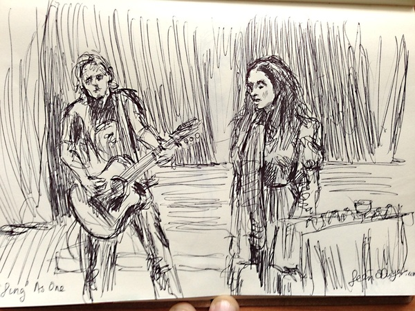 The amazing muse Maria Doyle Kennedy and Kieran Kennedy at Axis Ballymun last night  a drawing in the dark. Biro on paper