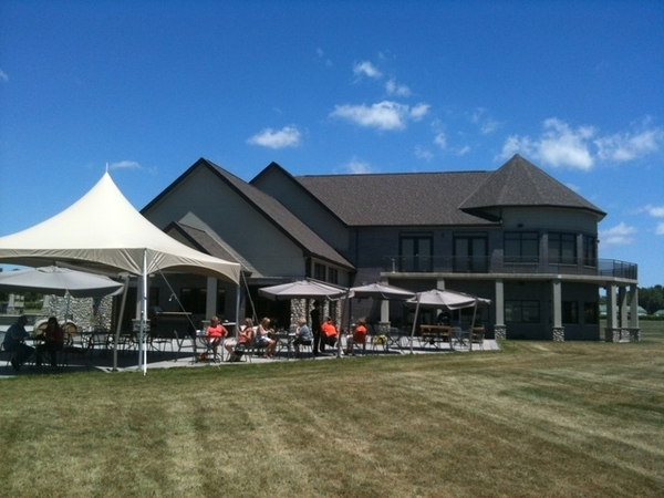 On the patio at Viewpointe winery on Lake Erie. BBQ, wine, view! Lush life.