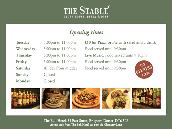 The Stable new opening times, £10 Tuesday deal and Thursday live music