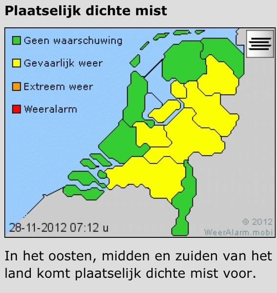 Let op! Het KNMI waarschuwt voor plaatselijk dichte mist: