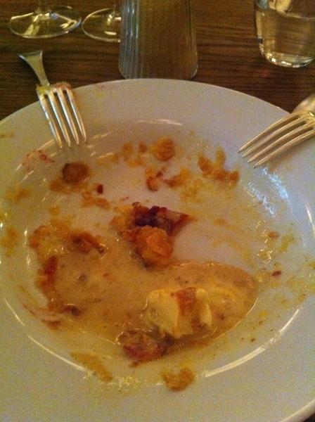 Hix: warm, tender bakewell tart (almond filling, raspberry jam layer).  Sorry, got away from us before I got a pic