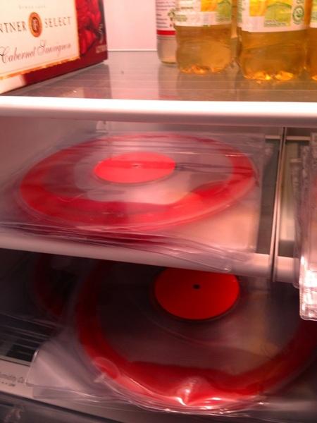Yesss!! Safe in the fridge!! Blood filled vinyl survives the journey...