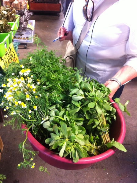 Tijuana mkt: bought great great herbs and greens for dinner I'm cooking in Valle de Guadalupe wine country.