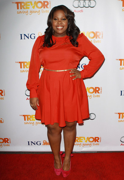 Amber Riley at 'Trevor Live at The Hollywood Palladium'  A Lot of red on the red carpet. #Glee