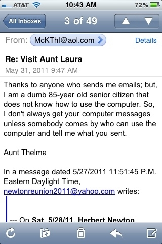 This is an email my great aunt sent out to the family #hilarious ..I'm just wonderin who actually typed that 4 her