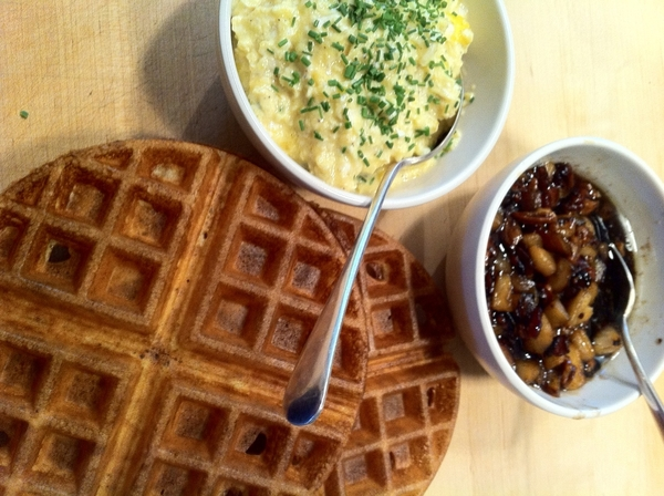Daughter home frm NYU:brunch request:Belgian waffles;apples w local maple,pecans,bacon; soft eggs w local goat chs