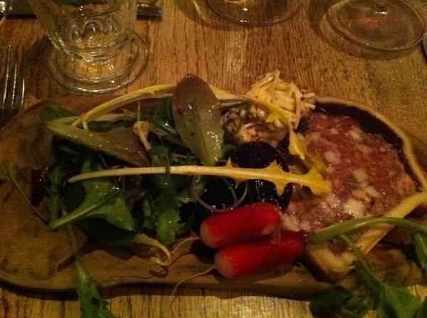 Harwood Arms: game pie (like pâté en croute) w salad, bfast radishes, celeriac remoulade