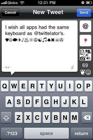I wish all apps had the same keyboard as @twittelator's. ♥☺☁✈♪♨☼☮☯♫♠✖☠✇