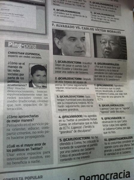 Gracias @Leonardogponce  @HoyComEc por consideración nota #politicaec 2.0 con @carlosvictorm @FAlvaradoE