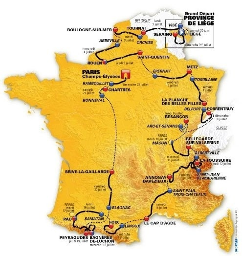 The 99th Le Tour De France map via @letour with race stages and dates. #TDF12