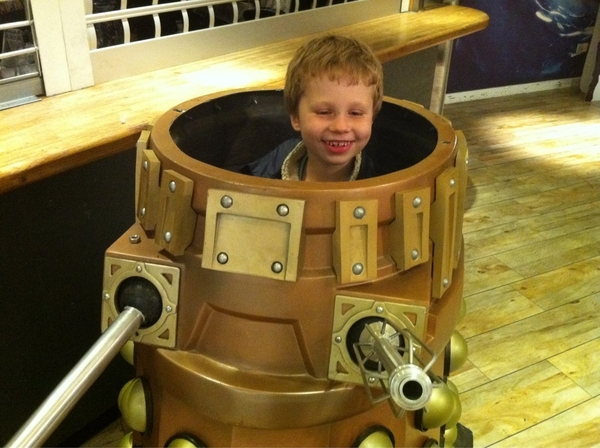 While at TV Centre we found a Tardis and a dalek, which my son drove around a bit.