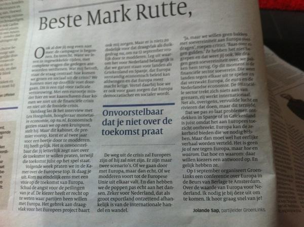 Goeie brief van @jolandesap in #vk aan Mark Rutte. 'Het is geen ja of nee tegen Europa maar hoe en waarom.'